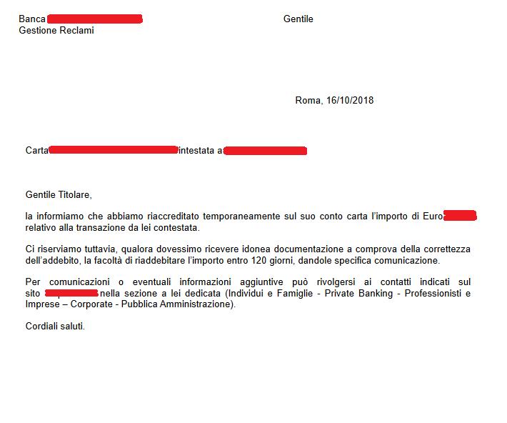 AMOMA - Lettera di rimborso istituto bancario