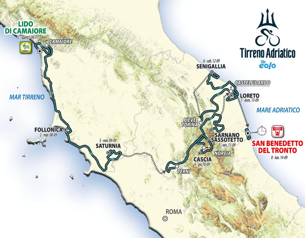 Tirreno Adriatico 2020 - Il nuovo percorso